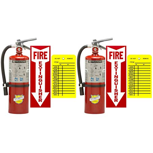 (Lot of 2) Buckeye, 5 Lb. Type ABC Dry Chemical 2-A :10-B:C Fire Extinguishers with 2 Wall Hooks, 2 - Yellow Inspection Tags and Signs