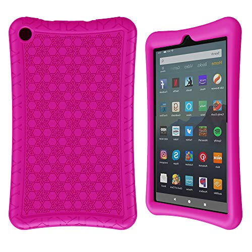 Surom Silicone Case for All-New Amazon Fire 7 2019/2017, Light Weight Shock Proof Protective Soft Silicone Kids Friendly Back Cover Case for Fire 7 Inch 2019/2017 (9th/7th Generation), Rose Pink