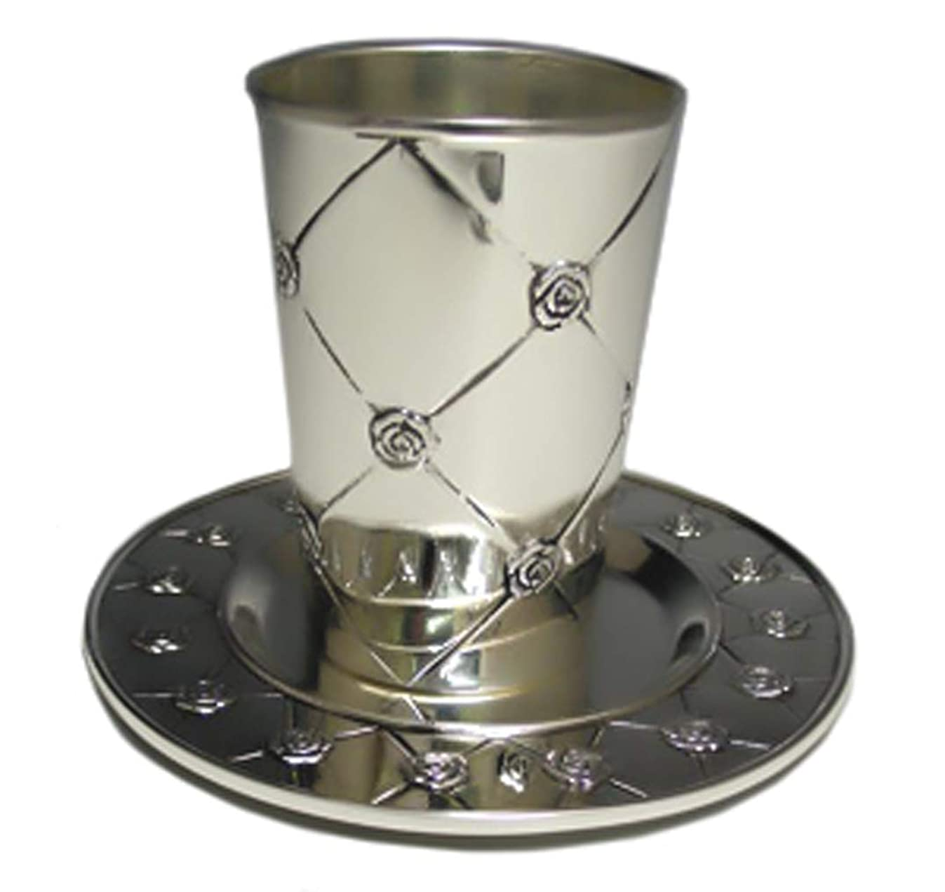 Judaica Roses Kiddush Cup with Tray