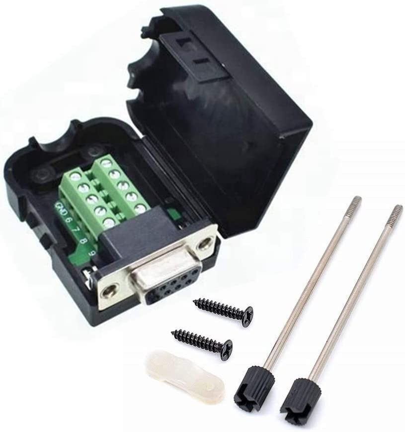 Male Nuts Trolleyshop Connector Male DB9 9pin Plug Pin D-SUB Terminal Board Plastic Cover Solderless to Screw Terminal Connector Signal Module