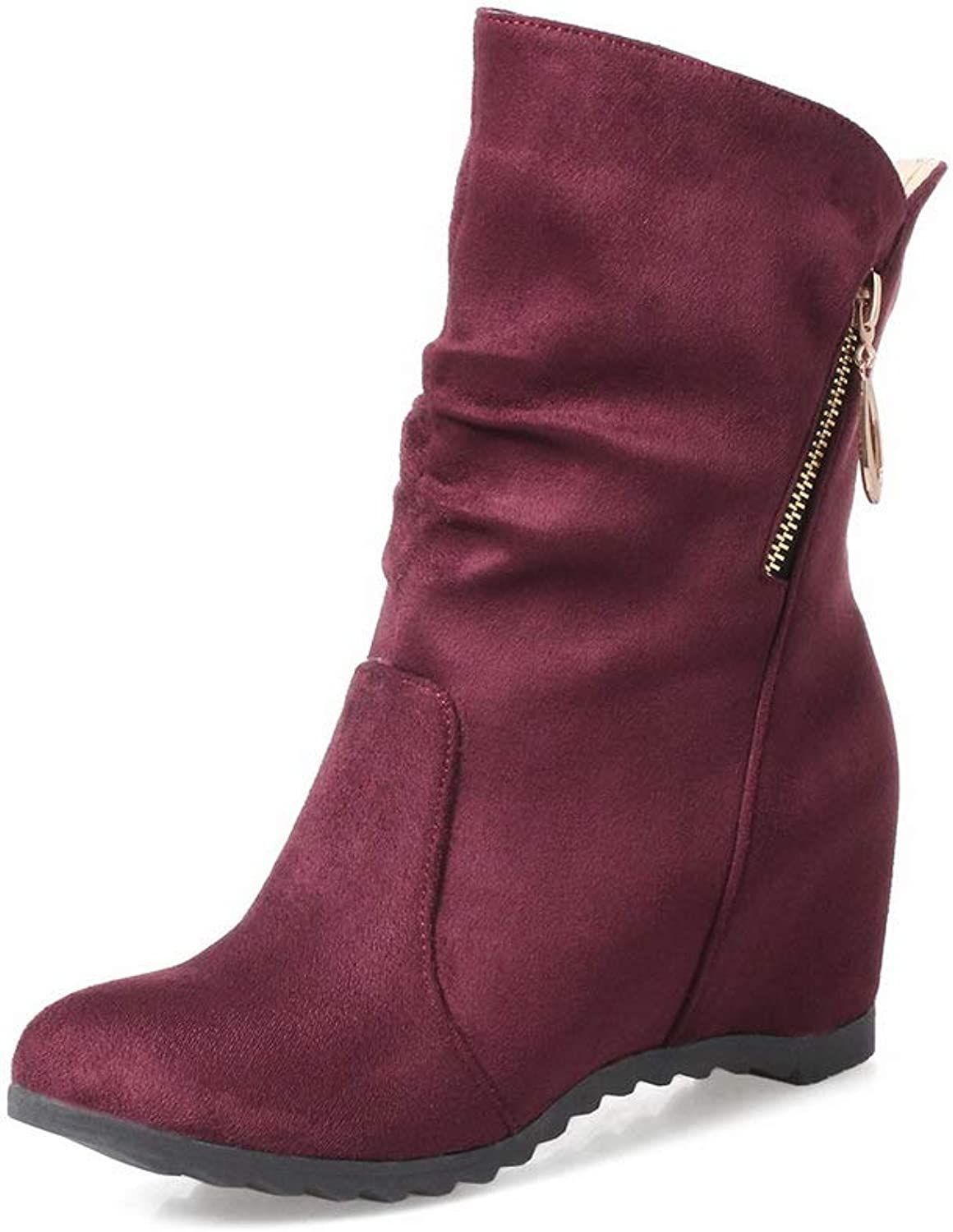 BalaMasa Womens Ruched Charms Solid Leather Boots ABL10836