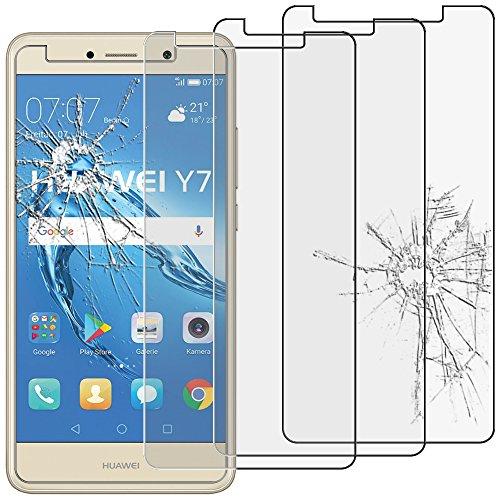 ebestStar - kompatibel mit Huawei Y7 Panzerglas x3 Schutzfolie Glas, Schutzglas Bildschirmschutz, Bildschirmschutzfolie 9H gehärtes Glas [Phone: 153.6 x 76.4 x 8.4mm, 5.5'']