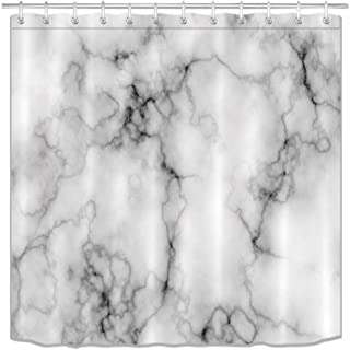 LB Grey Marble Texture Shower Curtain Set Domolite Luxury Concise Granite Bathroom Decoration Pixelate Gray Bathroom Curtain with Hooks 72x72inch Waterproof Polyester Fabric