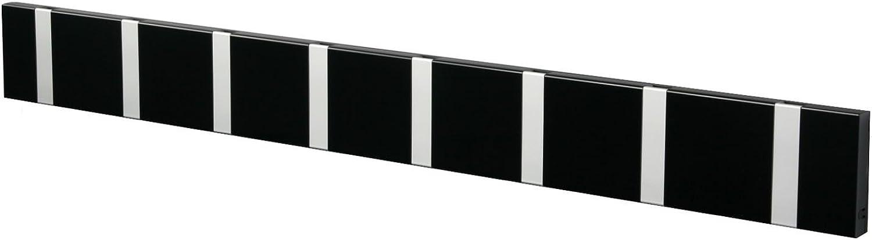 Knax 8 Garderobe schwarz, Garderobenleiste mit 8 Haken