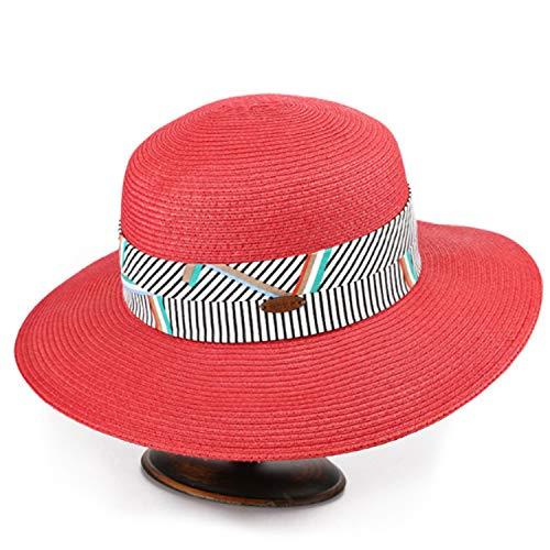 GGHY-Hut Hut Frauen Sommer Strohhut Strandhütte Faltschirm Schatten Komfort (Farbe: Rot, Größe: M)