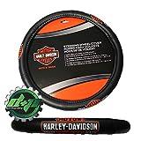 Diesel Power Plus Harley Davidson HD Classic B&S Steering Wheel Cover Leather Grip Motorcycle New