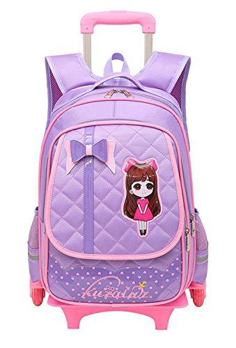 Fanci Cute Bowknot Waterproof Rolling School Bag Backpack on Wheels Princess Style Trolley Wheeled Backpack Carry on Luggage With Two Wheels