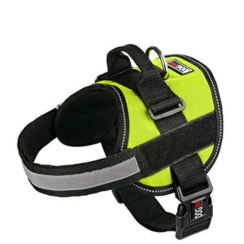 Dog Harness, Reflective No-Pull Adjustable Vest with Handle for Walking, Training, Service Breathable No - Choke Harness for Small, Medium or Large Dogs Room for Patches Girth 28 to 38 in Lime Green
