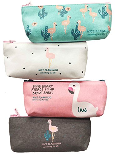 iToolai Canvas Pen Pencil Case Bag Zipper Travel Pouch Cosmetic Bags (Pack of 4, Flamingo and Cactus)