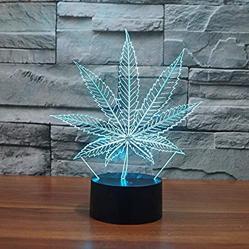 GEZHF s 3D LED Lámparas de marihuana hoja noche luz LED noche luz acrílico colorido atmósfera lámpara mejor regalos promoción