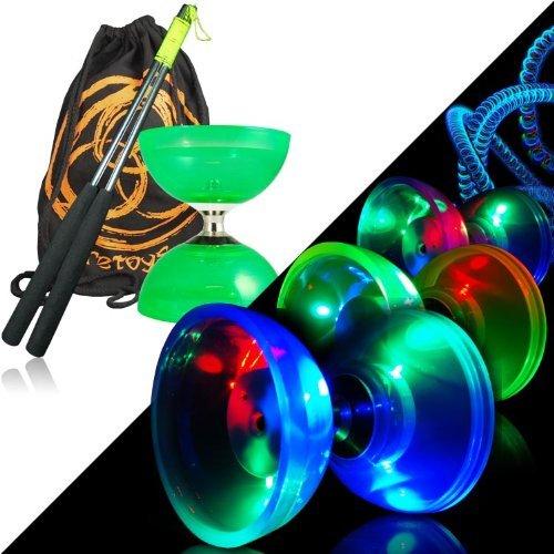 Diabolo Cyclone Quartz Juggle Dream (grün) - Diabolo Freiläufer Kombi-Set mit Leuchten-Kits, Alu-Handstäbe und Tasche