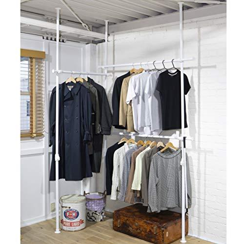 つっぱり棒を縦に3本使い、大容量のお洋服を収納できるラックです。横一列に設置する他、写真のように90度曲げて設置もできるから、お部屋の隅やウォークインクローゼットにも使いやすいです。2段タイプでは収納に困るコートやワンピースも掛けられます。