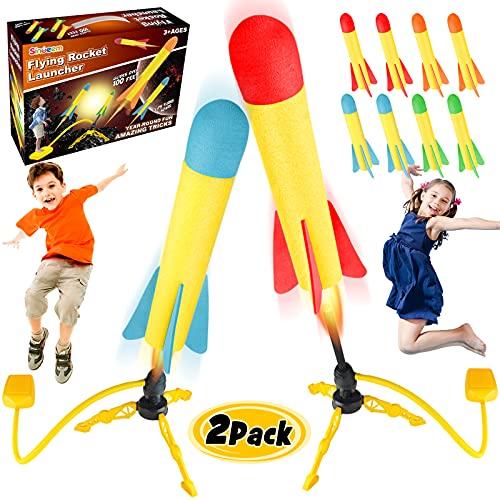 Sinoeem Druckluftrakete Rakete Spielzeug, Inklusive 2 Raketenwerfer und 8 Raketen aus Schaumstoff, Raketenspiel für Outdoorspiele Gartenspiele Kinder ab 3 4 5 6 7 8 Jahre alt Jungen Mädchen Geschenke
