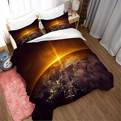 695 Duvet Cover Sets 3D Earth Printing Cartoon Bedding Set With Zipper Closure 100% Polyester Gift Duvet Cover 3 Pieces Set With 2 Pillowcases G-AU Double71*83'(180 * 210cm)