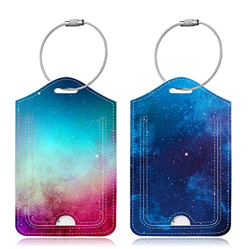 Famavala 2x Luggage Tags (Labels w/Magnet Close Privacy Cover) for Travel Bag Suitcase (BlueSky+GalaPink)