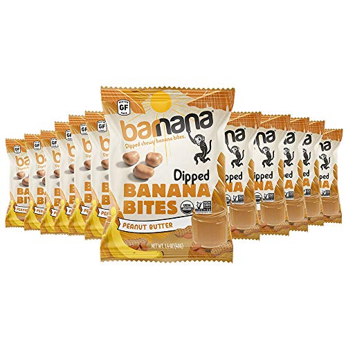 Barnana Organic Chewy Banana Bites, Peanut Butter Banana Flavor, 1.4 Ounce Bags (12 Bags Total) - Non-GMO, USDA Organic Upcycled Snack
