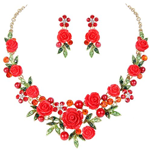 EVER FAITH Crystal Simulated Pearl Romantic Red Rose Flower Leaf Necklace Pierced Earrings Set Gold-Tone