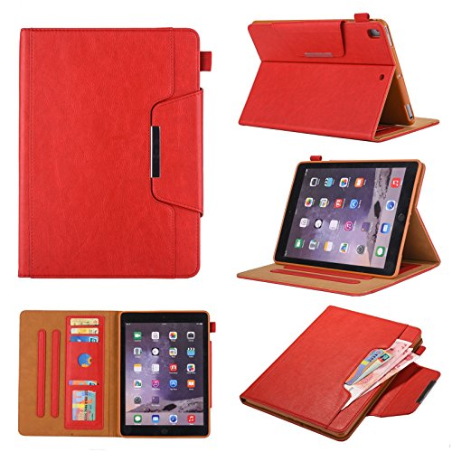 iPad 7th Generation Case, iPad 10.2 2019 Case with Pencil Holder,Bling Glitter Sparkly Folio Folding Stand Cover with Holder Auto Wake/Sleep Luxury Smart Case for iPad 10.2 inch 2019 (Red)