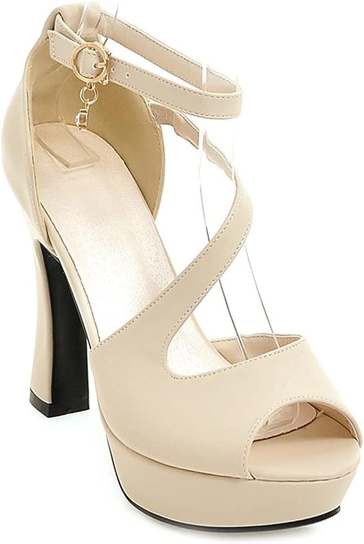 MISTU Women's Peep Toe Platform High Heel Dressy Sandals Ankle Strap Party Evening Pump Dress Heeled Sandal