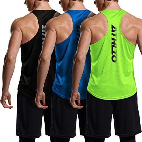 ATHLIO 3 Pack Men's Dry Fit Muscle Workout Tank Tops, Y-Back Bodybuilding Gym Shirts, Athletic Fitness Tank Top, Cube Tank Top 3pack(ctn02) - Black/Neon Green/Blue, Large