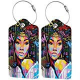 QDLDQ African American Women with Afro Urban Graffiti Leather Luggage Tags Etag for Suitcases Travel Name ID Identification Labels Set for Bags with Full Back Privacy Cover and Steel Loop