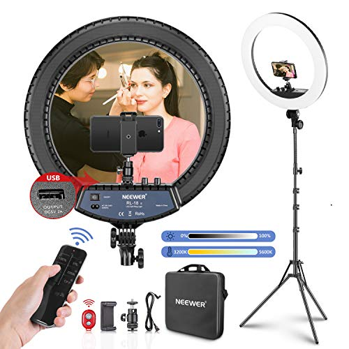 Neewer 18-inch LED Ring Light with Stand...