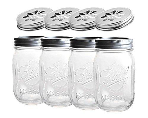4x Ball Mason Jar | Regular 16oz (475ml) + Flor Tapa | Set