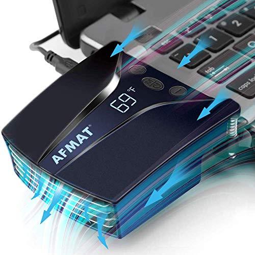 Laptop-Kühler mit Temperaturanzeige, schnelle Kühlung, automatische Temperatur-Erkennung, einstellbare Geschwindigkeit (2600–5000 U/min), 13 Windgeschwindigkeiten, Blau