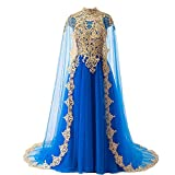 Plus Size Gold Lace Vintage Long Prom Evening Dresses Wedding Gowns with Cape Royal Blue US 20W