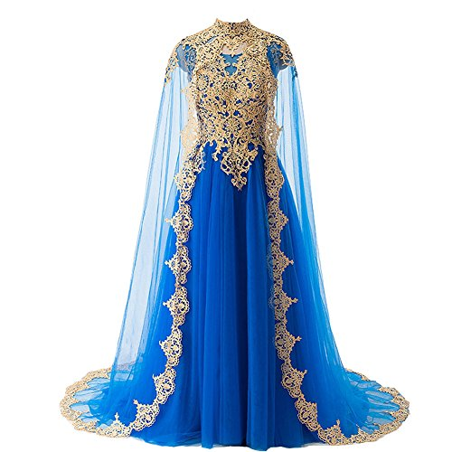 Gold Lace Vintage Long Prom Evening Dresses Wedding Gowns with Cape Royal Blue US 2