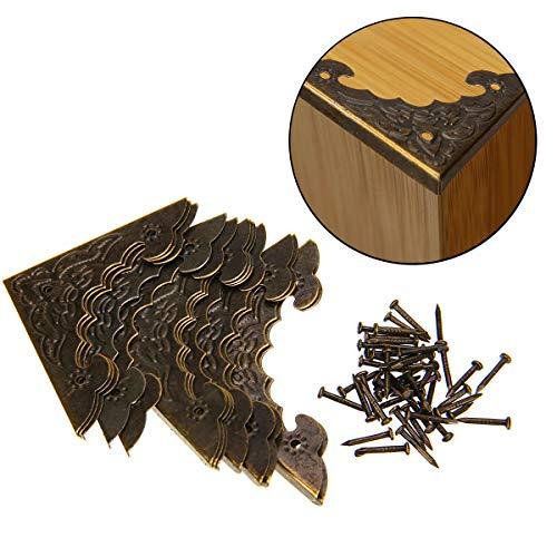4 piezas 37mm Metal Corner Protection Book Scrapbooking Soportes de esquina /Álbumes de fotos Men/ús Carpetas Protectores decorativos de esquina Guardia Bronce antiguo Craft Notebook Edge Edge Safety