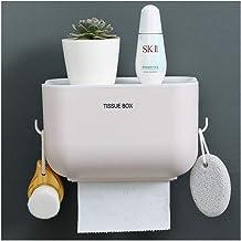 Wc-rolhouder met opslaghouder en haak,zelfklevende ponsvrije toiletrolhouder wandmontage badkamer slaapkamer tissue houde...