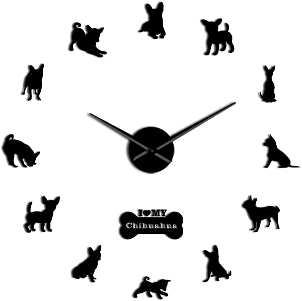 The Geeky Days Chihuahua 3D DIY Acrylic Wall Clock Puppy Dog Breeds Wall Art Decor Animals Self Adhesive Creative Black