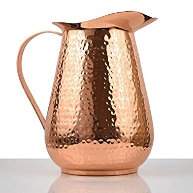 Artisan's Anvil Copper Pitcher w/ Copper Handle, Pure 100% Hammered Vessel, Heavy Duty Copper Jug, Handmade, 70 fl. Oz., Best for Water, Ayurveda, Moscow Mule, Cocktails