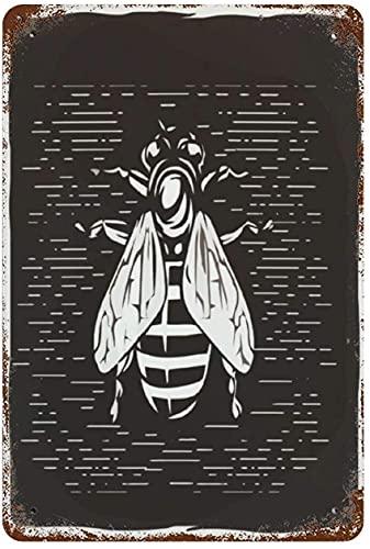 Tinta estilo bebé abeja dibujo pintura al óleo, cartel de chapa de metal vintage decoración de pared arte 15.7'x11.8' decoración de pared de café familiar, pintura de arte retro cartel de placa de hi