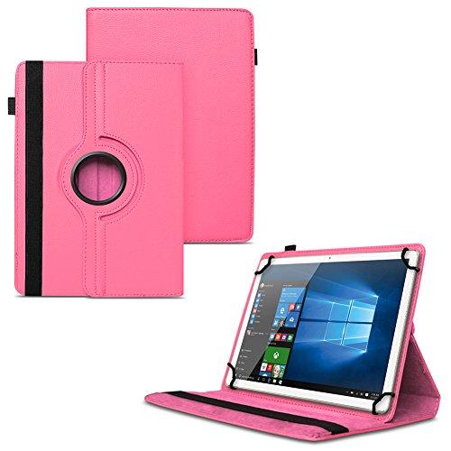 UC-Express Schutzhülle kompatibel für Odys Cosmo Win X9 Odys Winpad X9 Tablet Universal aus Kunstleder Hülle Tasche Standfunktion 360° Drehbar Cover Hülle, Farben:Pink