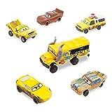 Ensemble de 6figurines Cars3 En plastique Personnages: Flash McQueen, Miss Fritter, Cruz Ramirez, Todd, Taco et T-Bone Voitures détaillées avec roues mobiles Longueur des voitures: 6-10cm environ