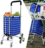 Mixen Foldable Shopping Trolley 8 Wheels Stair Climbing Grocery Cart, Supermarket Travel Picnic