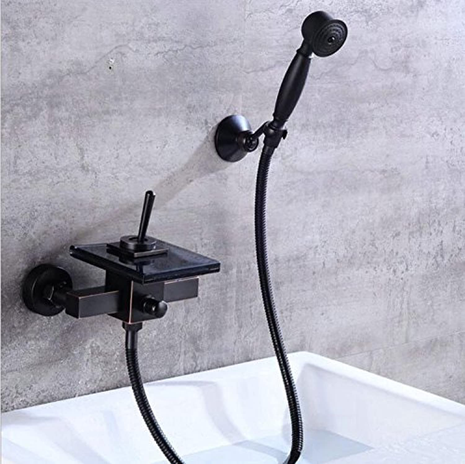 ETERNAL QUALITY Bathroom Sink Basin Tap Brass Mixer Tap Washroom Mixer Faucet Black tub shower shower cold water taps into the wall black glass easy waterfall shower fauc