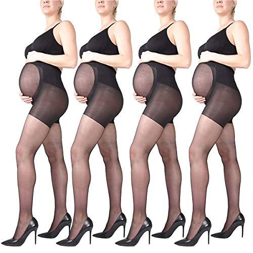 LOVELYBOBO 4Paar Mum Umstandsstrumpfhose 20 Denier Strumpfhose verst?rktem Bauchteil Schwangerschaftsstrumpfhose
