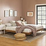 Walker Edison Mid Century Modern Solid Wood Platform Headboard Footboard Bed Frame Bedroom, King, Caramel (AZKMCPLATCA)