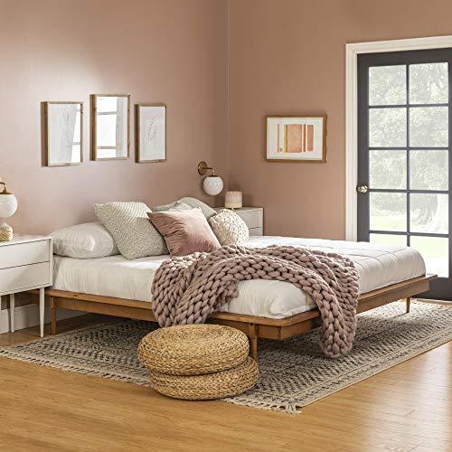 Walker Edison Mid Century Modern Solid Wood Platform Bed Headboard Footboard Bed Frame Bedroom, King, Caramel