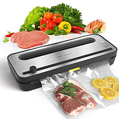 Vacuum Sealer YISSVIC Vacuum Food Saver Sealing Machine with Dry and Moist Food Modes for Food Preservation and Sous Vide (Come with 1 Roll Vacuum Bag)