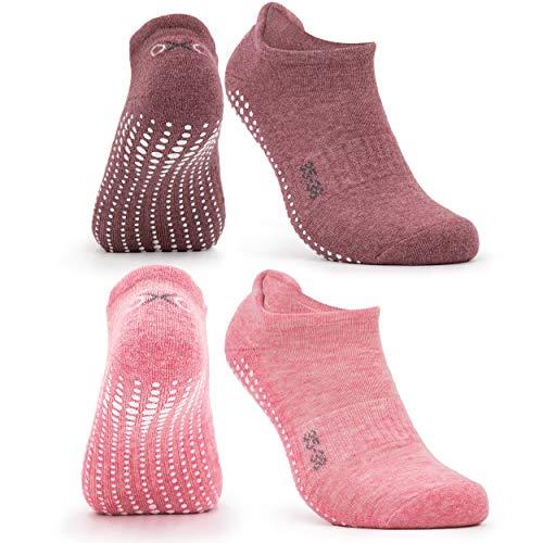 Occulto Calcetines Antideslizantes para Mujer y Hombre (2-4 Pares), Calcetines para Yoga y Pilates Mujer Hombre 2 Pares | Rosa Roja 39-42