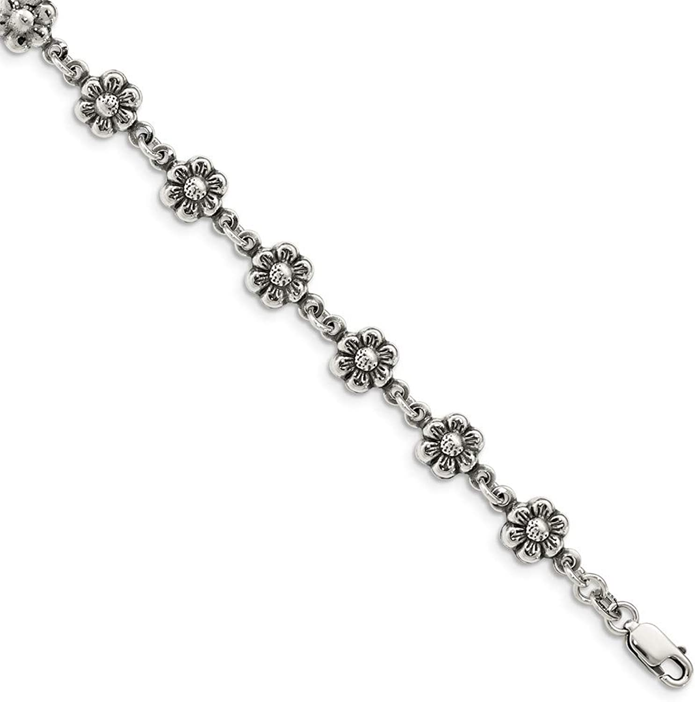 Beautiful Sterling silver 925 sterling Sterling Silver Flower Charm Bracelet