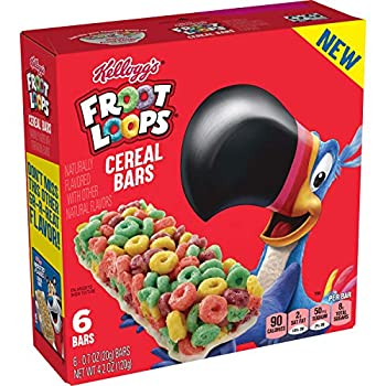 Kellogg s Cereal Bars -On The Go Snack Food froot loops 6.4 Oz