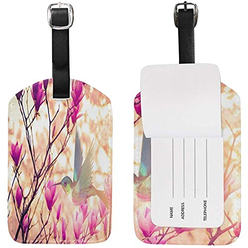 Luggage Tag Flowers Plant Hummingbird Travel Tag Name Card Holder for...