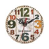 Reloj Redondo de Madera, 7 Tipos de Reloj de Pared Antiguo Creativo Estilo Vintage Relojes Redondos de Madera Decoración de la Oficina en casa(# 3)