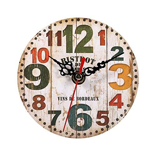 GOTOTOP Orologio da Parete in Legno Rotondo Creativo Antico Stile Vintage Home Office Decorazione Camera da Letto Ornamenti (4,7 Pollici)(#3)