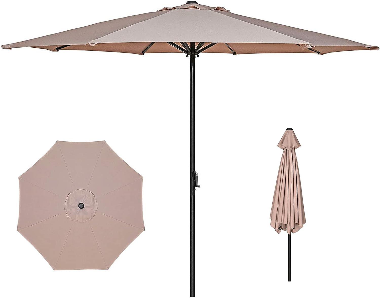 FULLSUN PARASOL 9ft Patio Umbrella Outdoor Table Umbrella with Aluminum Pole and Crank, for Market Garden Beach Deck Pool Backyard Cafe